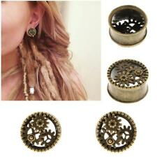 Gears Copper Flesh Tunnel Ear Plug Expander Stretcher Piercing Antique Brass