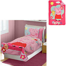 NEW Peppa Pig Toddler Bedding & Blanket Set - Comforter Sheets Pillowcase Nick