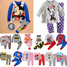 Cartoon Print Character Kid Baby Boy Girl Pajamas Sleepwear Nightwear Outfit Set