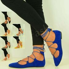NEW WOMENS POINTED BALLET FLATS LADIES LACE UP BALLERINA SANDALS SHOES SIZE UK