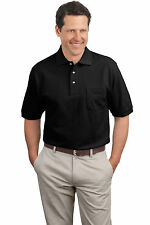 Port Authority Polo Shirt K420P Men's Pique Knit Polo with Pocket NEW S-4XL