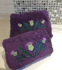 Embroidered Bath and Hand Towels Scottish Thistle Hand and Bath Towels