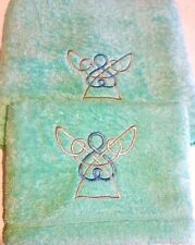 Embroidered Hand and Bath Towels, Celtic Angels, Hand Towels, Bath Towels