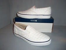 Sperry Top Sider Mens Striper S/O Webbing White Slip On Boat Shoes NIB! SIZES!