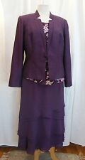 JACQUES VERT HARMONY GRAPE RANGE SILK DEVORE PURPLE SKIRT/TOP GRAPE JACKET
