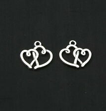 30/100 pcs retro style Tibet silver Hollow out love alloy charms pendant