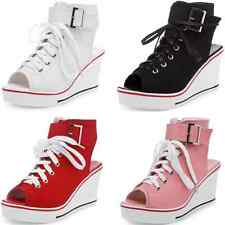 Women Canvas Platform Wedge High Top Heel Open Toe Lace Up Buckle Sneakers Shoes