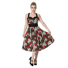 Ladies Banned Skull & Roses Print Multicoloured 50s Style Goth/Rockabilly Dress