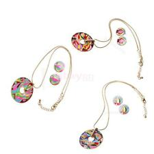New Enamel Torch Round Pendant Chain Necklace Earrings Set Womens Fashion Decor