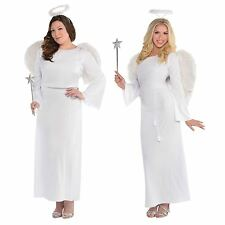 Deluxe Ladies Angel Gabriel Costume + Feather Wings Christmas Fancy Dress Outfit