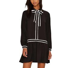 Fashion Women Shirt Dress Loose Bowknot Chiffon Mini Dresses Casual Long Sleeve