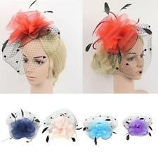 Elegant Fascinator Hair Clip Veil Hat Feather Mesh Wedding Bridal Races Parties