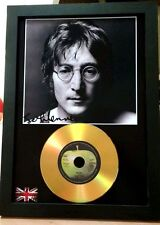 JOHN LENNON - SIGNED PHOTO AND GOLD DISC DISPLAY