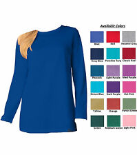 Women's New Perfect Crewneck Tunic T-Shirt Top Long Sleeves Plus Big Sizes M-6XL