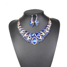 Luxury Wedding Bridal Gemstone Statement Necklace Earring Party Jewelry Set
