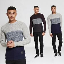 NEW MENS JUMPER CASUAL BRAVE SOUL BLOCK COLOUR KNITTED JUMPER SWEATER WINTER TOP