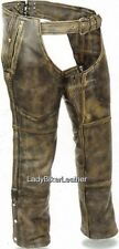 DISTRESSED BROWN Premium Leather MOTORCYCLE CHAPS 4 Pockets STRETCH Inner Thighs