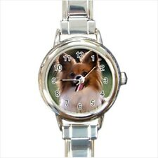 Papillon Puppy Dog Italian Charm Watch (Battery Included)