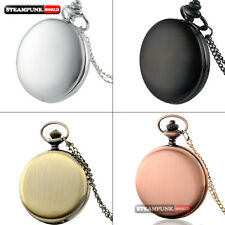 Vintage Steampunk Smooth Silver Quartz Pocket Watch Chain Necklace Pendant Gift