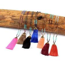 vintage Beads chain Nylon tassel pendant chunky statement necklace for women