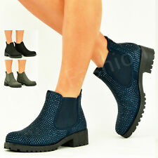 NEW WOMENS ANKLE BOOTS LADIES STUDED BOOTIES CHUNKY HEEL WINTER SHOES SIZE UK