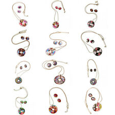 Women Lady Round Colorful Enamel Gold Plated Jewelry Set Necklace Earring