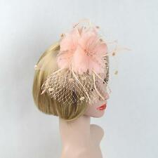 Women Lady Girl Fascinator Wedding Party Prom Veil Feather Hair Band Handmade