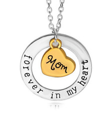English Letter Forever in Heart Ring Pendants Family Heart Necklace Chain Gift