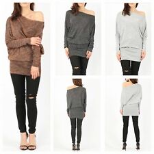 WOMENS LADIES SOFT KNITTED LUREX METALLIC OFF SHOULDER LONG SLEEVE BATWING TOP
