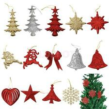10pcs Glitter Star Love Reindeer Snowflake Christmas Tree Pendnat Decoration