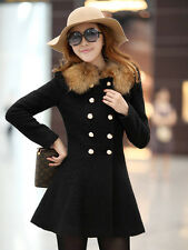 Womens Ladies Slim Double Breasted Wool Blends Trench Coat Jackets Long Overcoat