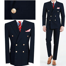NAVY BLUE Double Breasted Men s Sim Fit Suit Prom Groom Wedding Suits US UK SALE