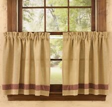 (1) pair Woven Natural Burlap Sturbridge Wine Check Country Window Cafe Tiers