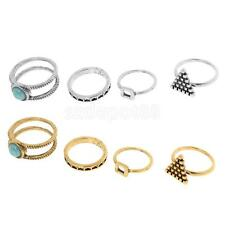 4pcs Set Of Vintage Rings Silver Gold Boho Turquoise Geometric Triangle Rings