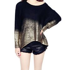 Women's Sweater Loose Fit Blouse Top Batwing Sleeve Casual Pullover