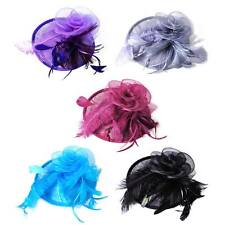 Lady Top Fascinator Hat Hair Clip Feather Sinamay Cocktail Party Church Wedding