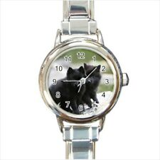 Cute Schipperke Puppy Dogs Italian Charm Watch (Battery Included)