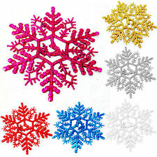 Glitter Snowflake Christmas Xmas Tree Hanging Ornaments Decoration Party Gifts