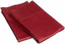 2 Qty Pillow Case US Size 1000 Thread Counts 100%Cotton Burgundy Solid