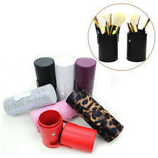 Travel Leather Makeup Brush Pen Box Storage Empty Holder Cosmetic Cup Case