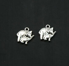 20/40/100 pcs ancient silver elephant mother and son alloy charms pendant