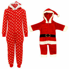 KIDS GIRLS BOYS CHRISTMAS ONESIE EXTRA SOFT MR & MRS SANTA CLAUS ALL IN ONE PJ'S