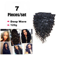 7pcs 120g Real Remy Afro Deep Wave Curly Clip In Human Hair Weft Extensions