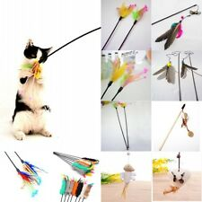 Funny Kitten Play Length Interactive Fun Toy Cat Catcher Teaser Wand Pet Feather