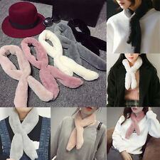 Women Ladies Faux Rabbit Fur Soft Scarf Wraps Shawl Stole Warm Plush Collar