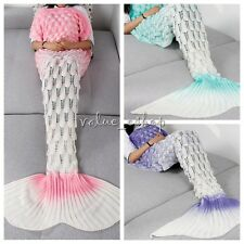 Adult Size Knitted Crochet Sofa Wrap Costume Mermaid Tail Quilt Bedding Blanket