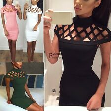 Womens Choker High Neck Bodycon Ladies Caged Sleeves Mini Dress US Size 4-12 FNH