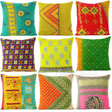 "LARGE SELECTION - 16"" KANTHA DECORATIVE THROW CUSHION PILLOW COVER Floral Boho"