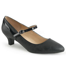 Pleaser FAB-425 Black Faux Leather-Patent Kitten Heel Mary Jane Pump Casual