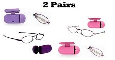 2 PAIR Foster Grant GWENDOLYN Folding Reading Glasses PINK PURPLE 1.50 2.00 2.50